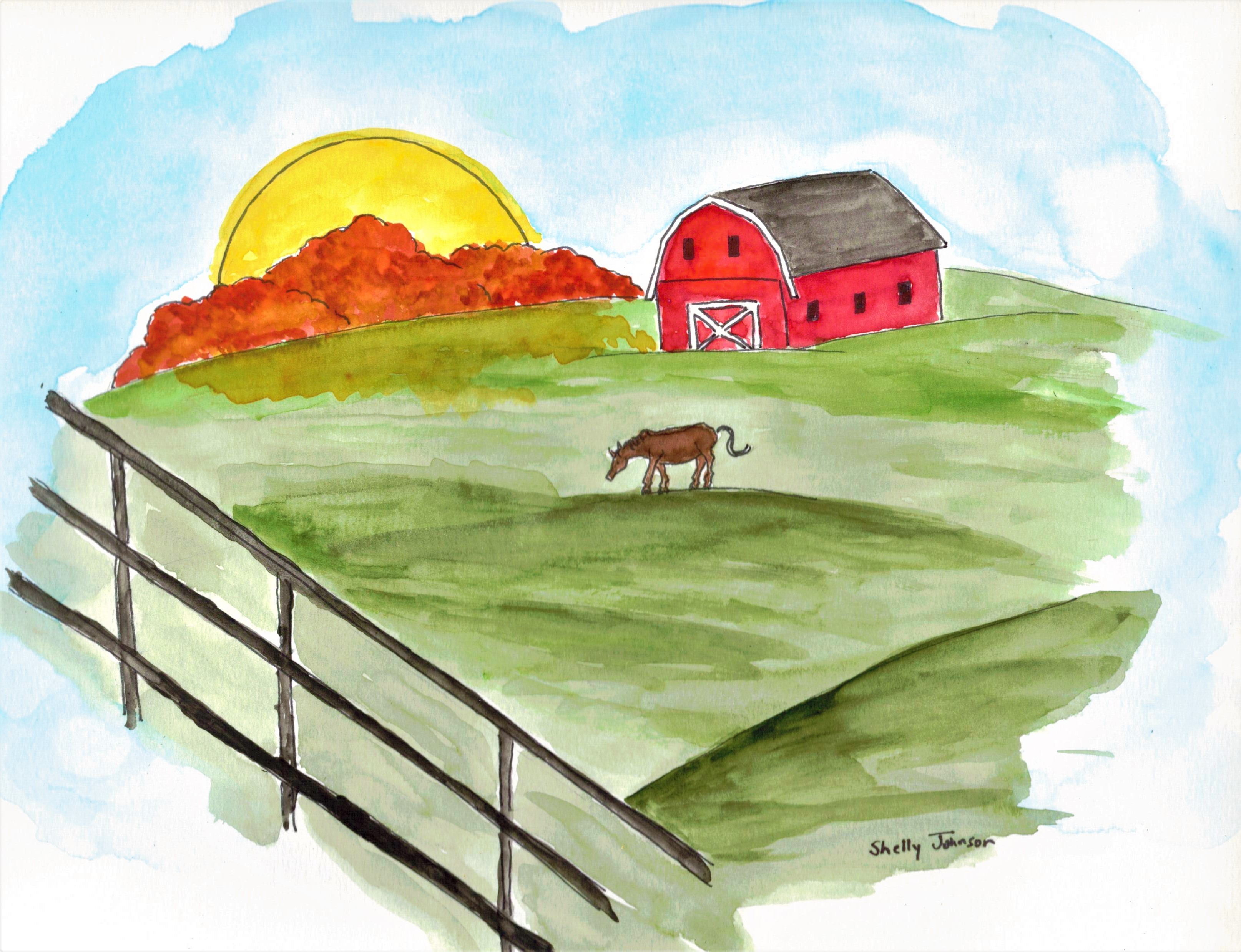A Kentucky Horse Farm A Whimsical Watercolor Love Is Stronger
